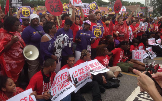 McDonald's workers block streets during nationwide wage protests