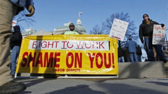 Indiana 'right to work' law headed for court showdown
