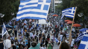 Greeks kick bankers and austerity politicians in the teeth