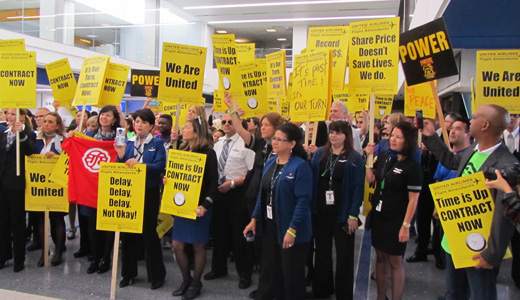 United flight attendants demonstrate worldwide for a contract