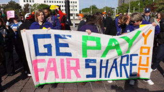 Protesters demand GE pay its taxes