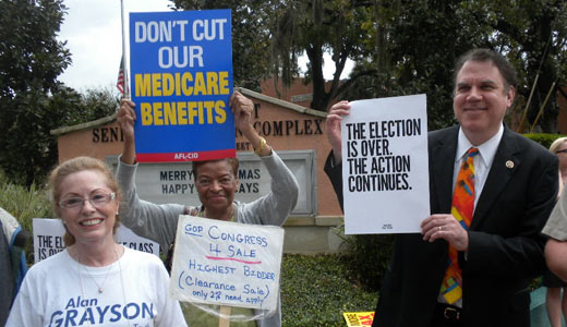 Orlando residents demonstrate against tax cuts for rich