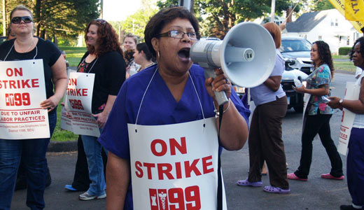 Conn. governor joins locked out workers at HealthBridge
