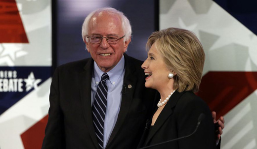 Hillary and Bernie eye a wall to keep out right wingers