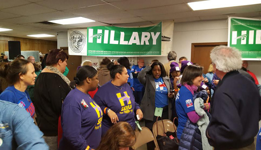 Iowa public employee unions rally for Clinton