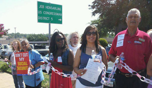 Social Security supporters form human chains in 45 cities