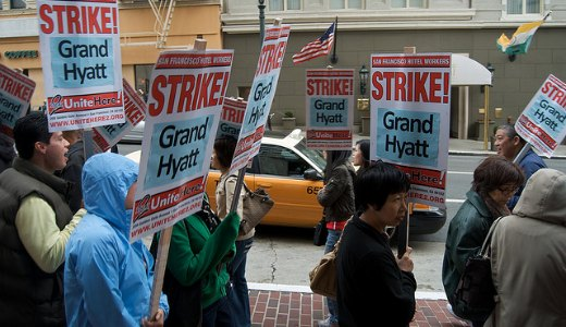 Hyatt workers end weeklong strike with protest at 'heat lamp hotel'