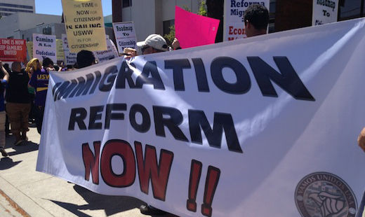 Video: Protest targets senator as immigration bill progresses