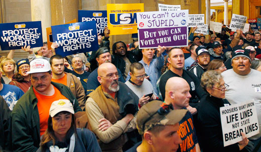 "Indiana GOP ramming ""right to work"" but battle continues"