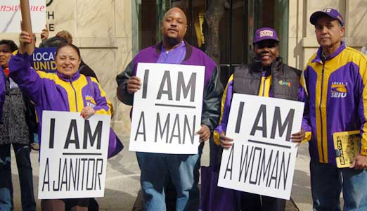 Evoking Dr. King, Chicago janitors cry out for respect