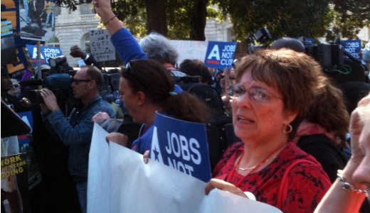 "Capitol Hill protesters demand ""jobs not cuts"""