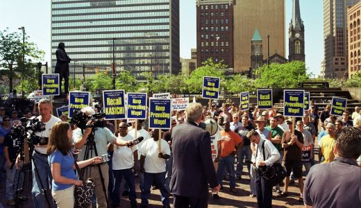 Ohioans rally for jobs, rights, Boehner locks them out