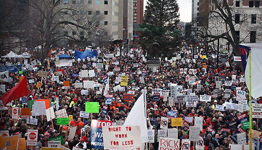 "30,000 protest ""right to work"" for less in Michigan"