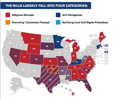 Anti-LGBT bills introduced in 28 states