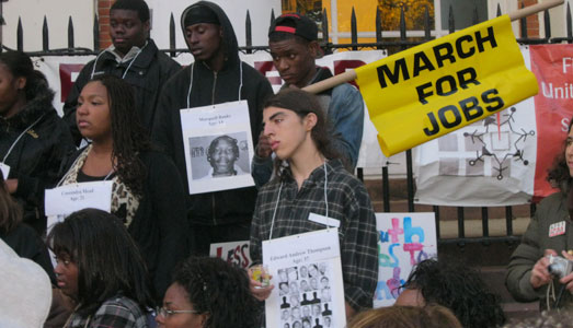 Youth march calls for jobs and end to violence