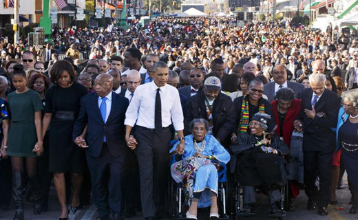 """Tens of thousands mark Selma's """"Bloody Sunday"""" voting rights march"""