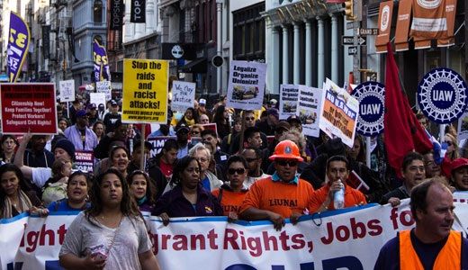 30,000 march down Broadway in New York May Day event
