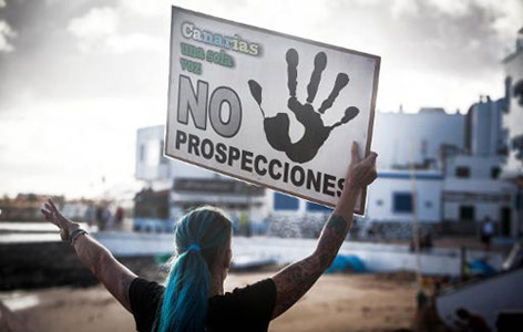 Activists protest oil drilling in Canary Islands