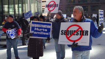"""Workers coast-to-coast demand rollback of """"sequester"""" cuts"""