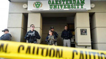 Demonstrators protest raids at medical pot facilities