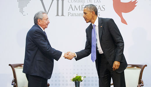 History in the making: Obama and Castro meet face to face