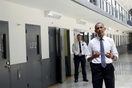 President Obama, at federal prison, calls for new approach to crime