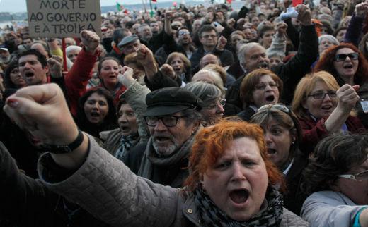 Portuguese protest austerity