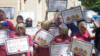 """Sacramento protests """"Queen Meg"""" with one of its own"""