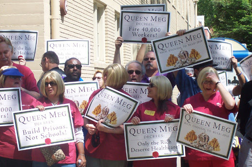 "Sacramento protests ""Queen Meg"" with one of its own"