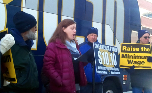 """America Needs A Raise"" bus rolls into Maine"