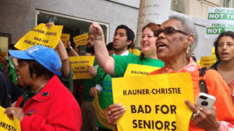 """At GOP fundraiser, protesters warn """"Rauner and Christie – bad for Illinois, bad for USA"""""""