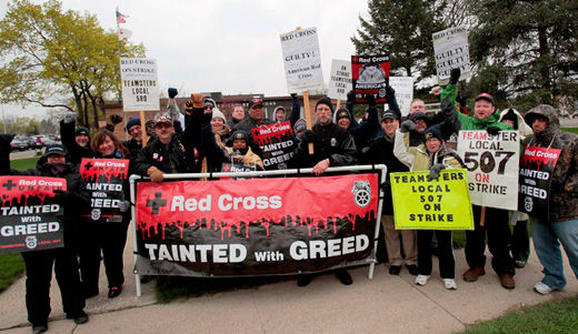 Striking Red Cross workers' life blood on the line