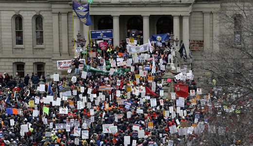 Locked capitol doors lead to Michigan unions' right-to-work lawsuit