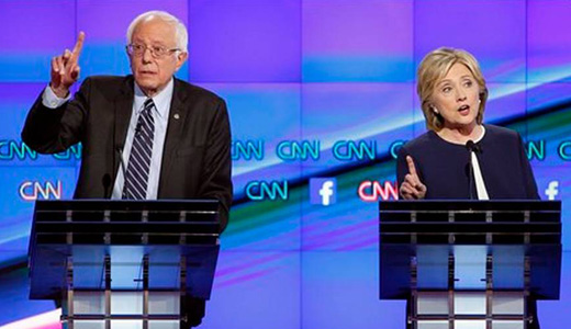 Democratic presidential hopefuls, in contrast to GOP candidates, push progressive agenda