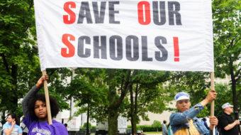 """Teachers march against """"teach to the test"""""""