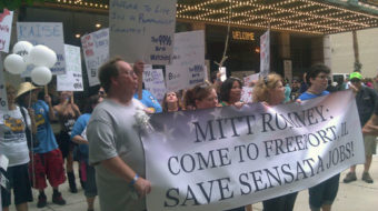 """Workers in Tampa say """"no"""" to the Romney economy"""