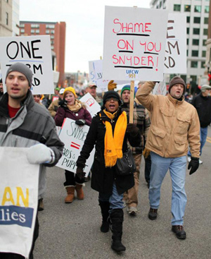 After Michigan setback, unions to fight back