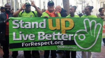 Striking Walmart workers' caravan heads for firm's headquarters, annual meeting