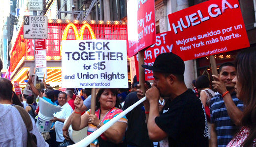 Fast food workers rally in Times Square