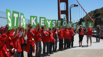 Nurses march across Golden Gate Bridge to protest Keystone
