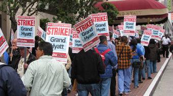 Hotel workers strike the Grand Hyatt