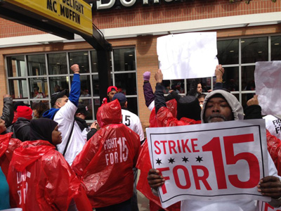 Chicago fast food and retail workers walk out