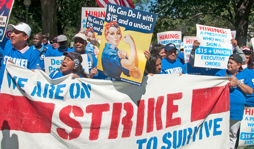 "Striking federal contract workers demand ""$15 and a union"""