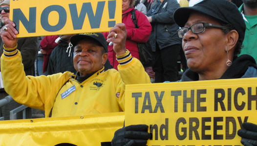 Thousands demand that the rich pay their share
