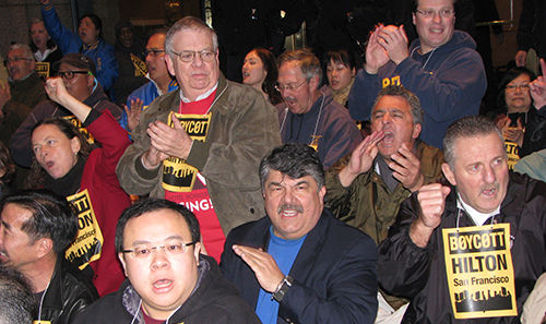 Hotel workers sit in, proclaim San Francisco Hilton boycott