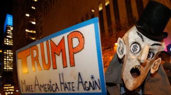 Trump condemned for hate-mongering.