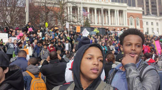 Thousands of Boston public school students walk out to protest budget cuts