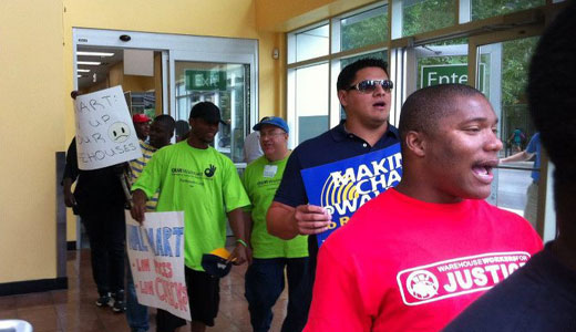 Striking warehouse workers take over Chicago Walmart