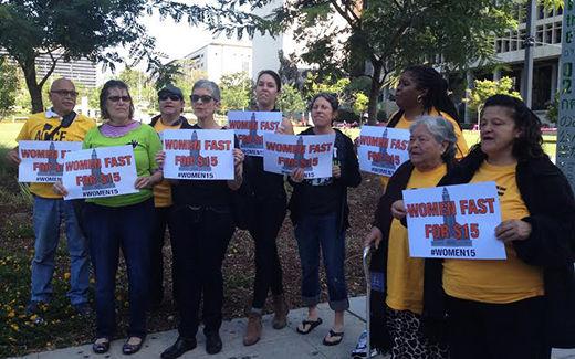 LA women on hunger strike for $15 at mayor's door
