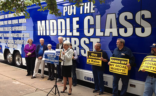 """Put the middle class first"" bus tour rolls into Connecticut"